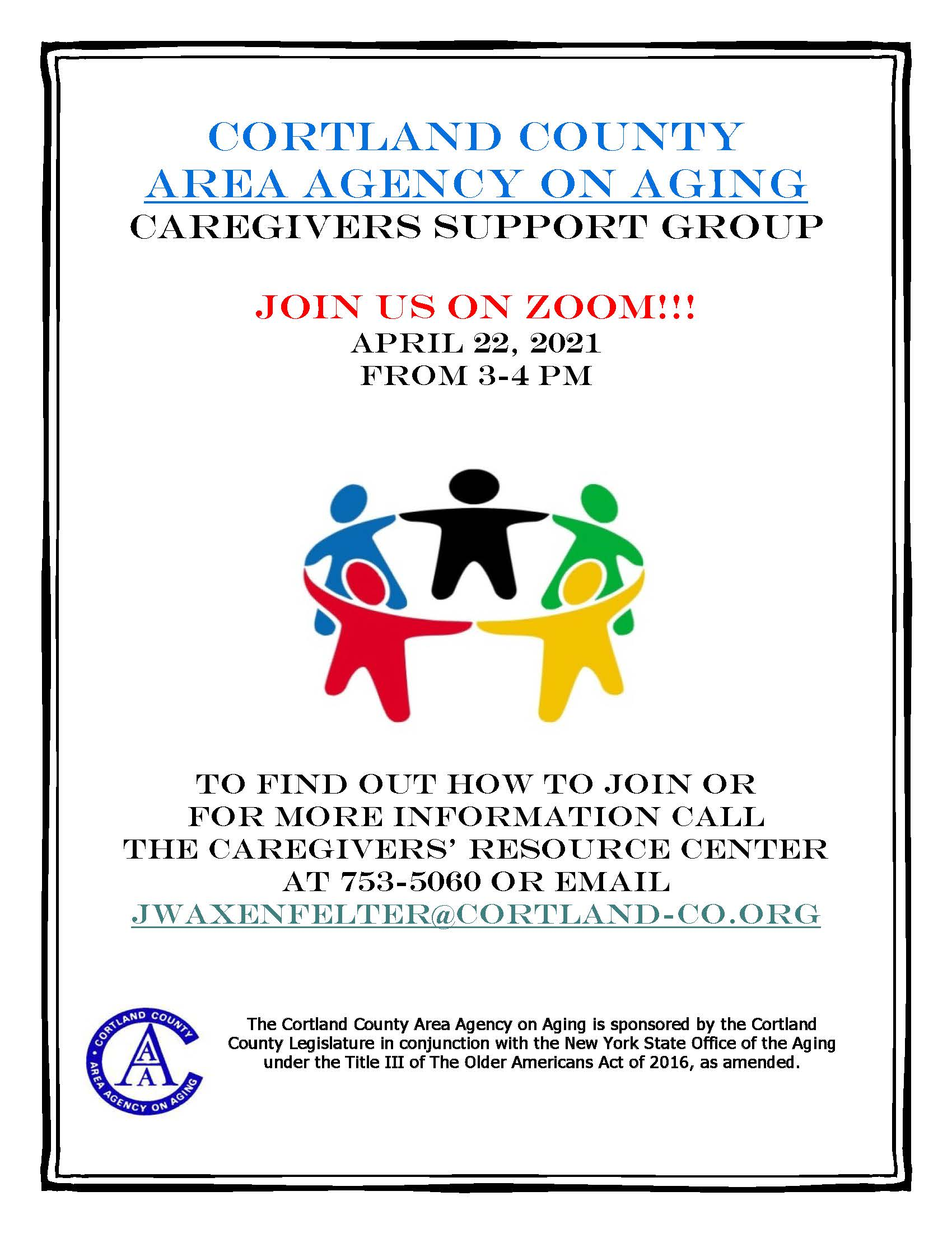 Zoom Flyer 2021 - April Caregiver Support Group