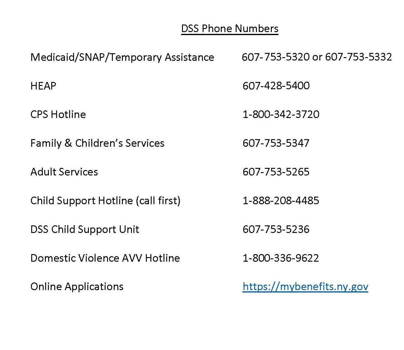 DSS phone numbers
